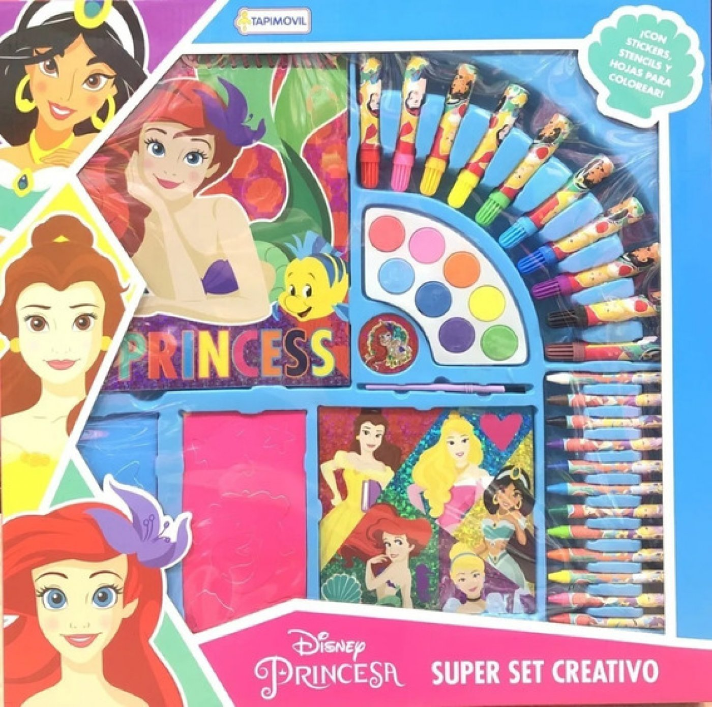 Super Set Creativo Escolar Princesas Disney Acuarelas