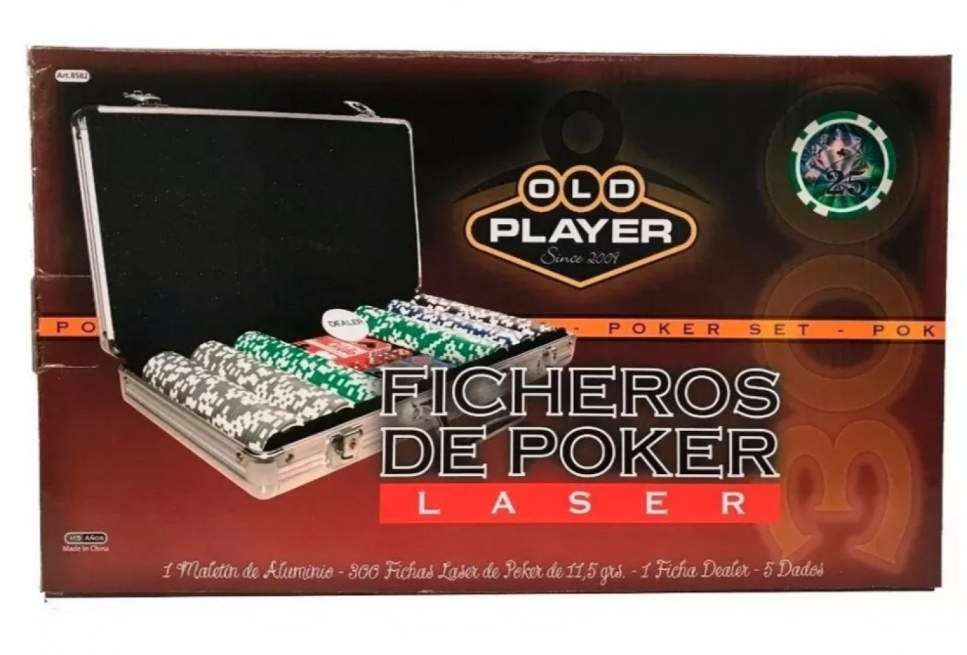 Maletin Poker Old Player 200 Fichas Numeradas Laser Maletin