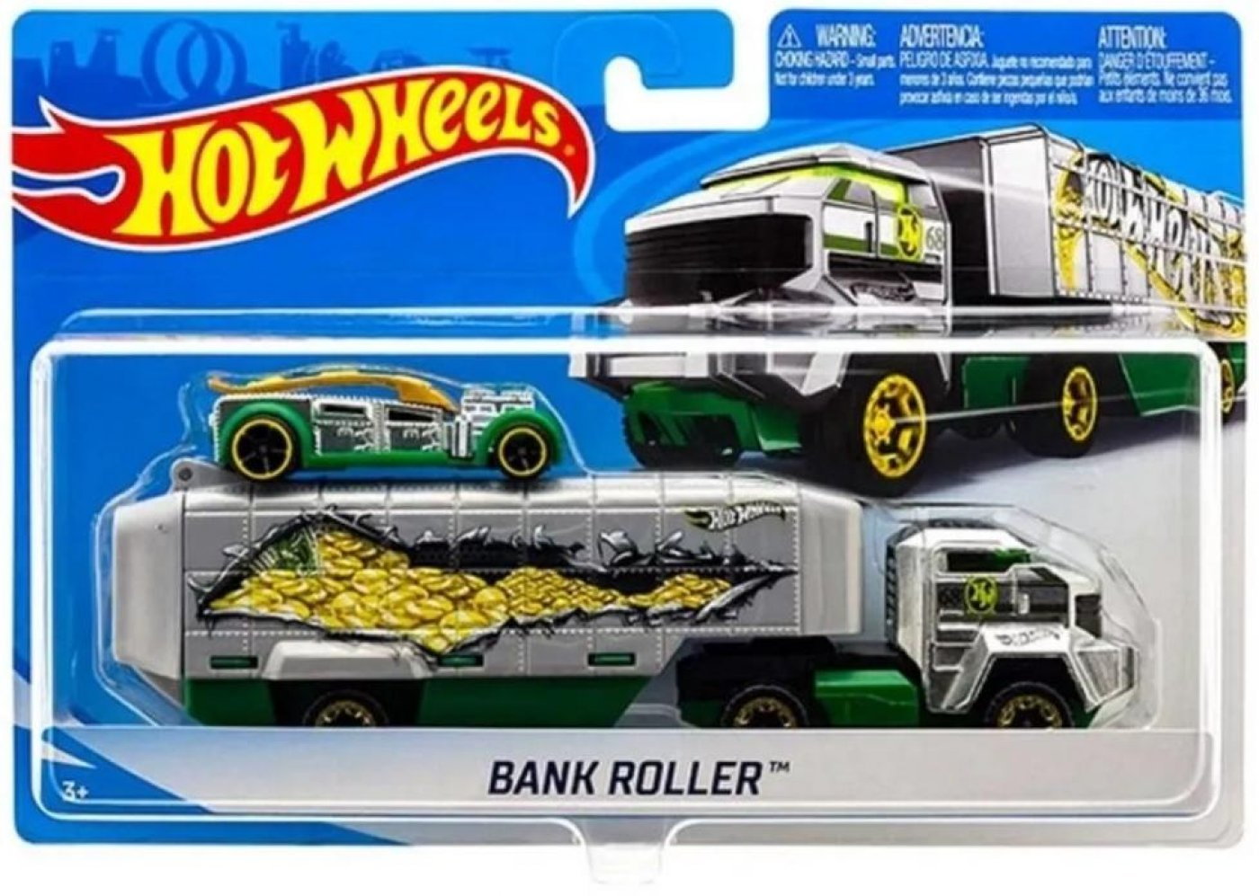 Camión Hot Wheels City Bank Roller Con Coche De Carreras